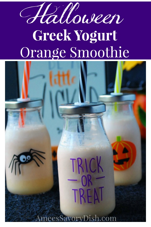 Halloween Greek yogurt orange smoothie recipe made with Greek yogurt, fresh orange juice, carrot juice and vanilla protein powder.
