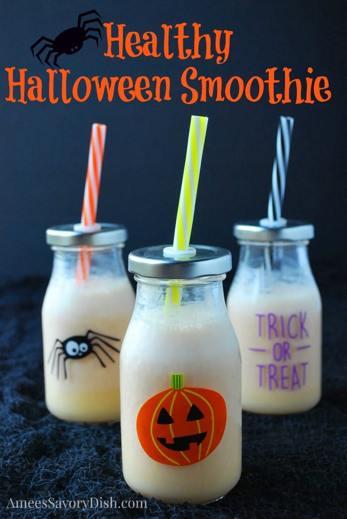 A delicious and healthy Halloween Greek yogurt orange smoothie recipe made with Greek yogurt, fresh orange juice, carrot juice and vanilla protein powder. via @Ameessavorydish