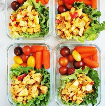 chicken salad meal prep with tomatoes and carrots
