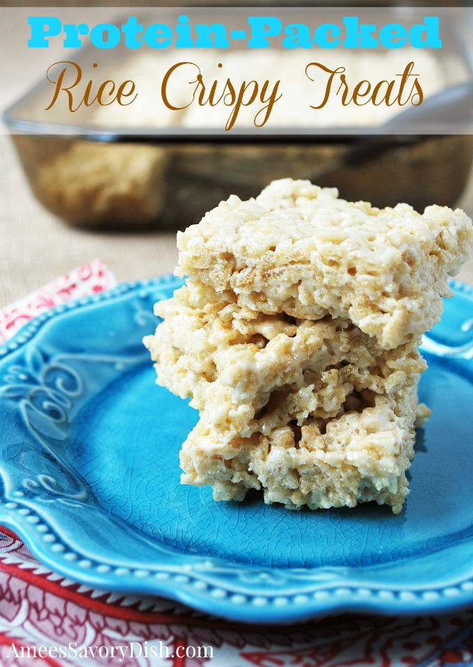 These tasty protein rice crispy treats are a delicious post-workout snack when you want something a little more indulgent. via @Ameecooks