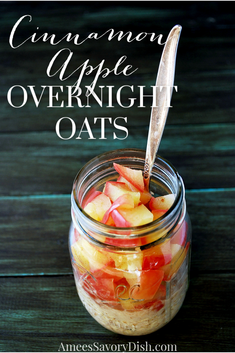 A simple and easy recipe for cinnamon apple overnight oats using microwave cooked apples, ground cinnamon, whole oats, and natural sweetener.#overnightoats #appleovernightoats #appleoatmeal #oatmeal via @Ameessavorydish