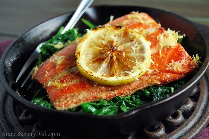Sous Vide Salmon and Spinach