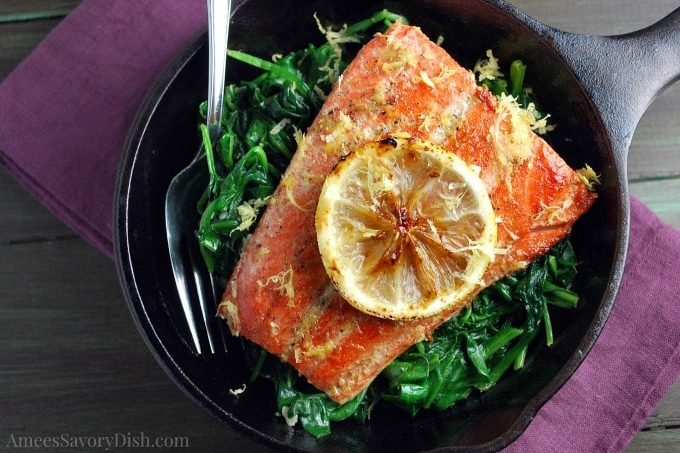 Sous Vide Seared Salmon With Wilted Spinach
