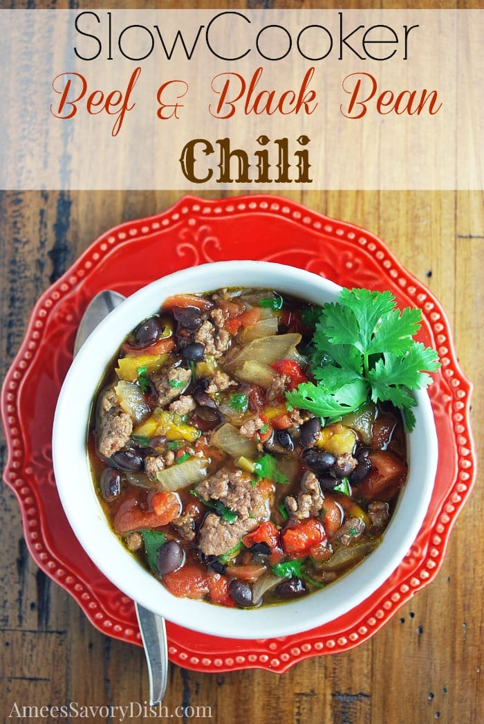 A slow cooker recipe for lean beef black bean chili that's easy to make and full of protein, fiber and vegetables for an easy healthy meal.