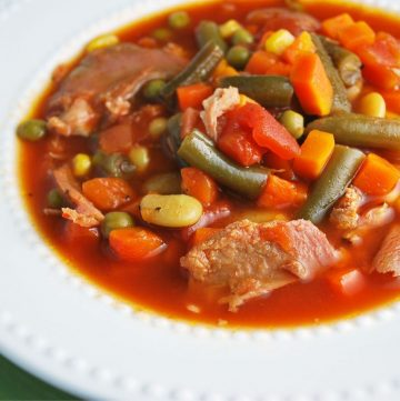 close up picture of bowl of ham vegetable soup