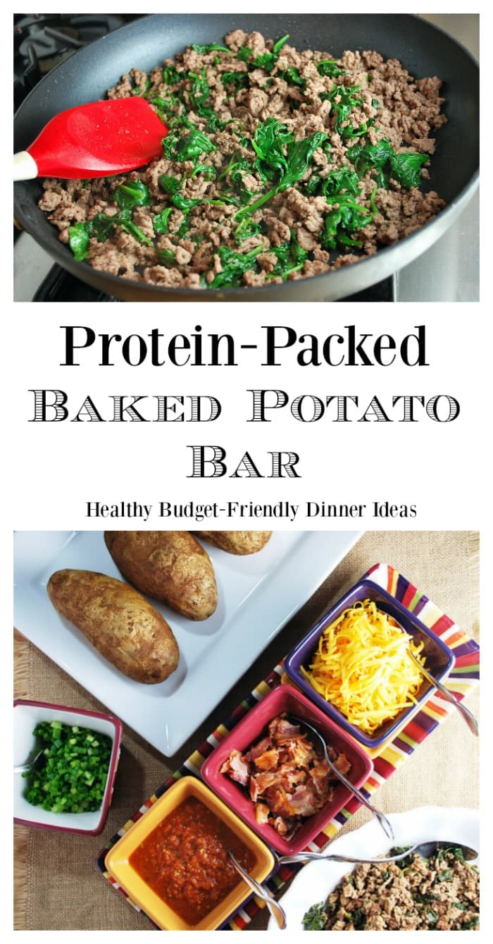 Need ideas for healthy and kid-friendly meals that won't bust the budget? This nutritious and protein-packed baked potato bar is a tasty, affordable meal!
