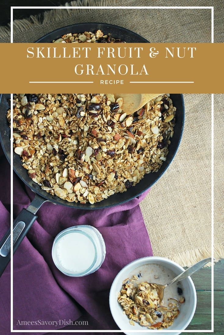 You'll love this easy stovetop granola recipe made in a skillet with rolled oats, chia seeds, almonds, dried fruit, maple syrup and olive oil. via @Ameecooks