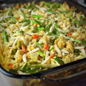 close up of chicken casserole in a baking dish