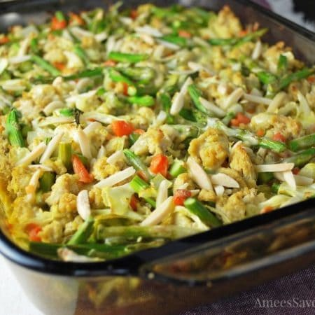Chicken casserole in a baking dish ready to cook