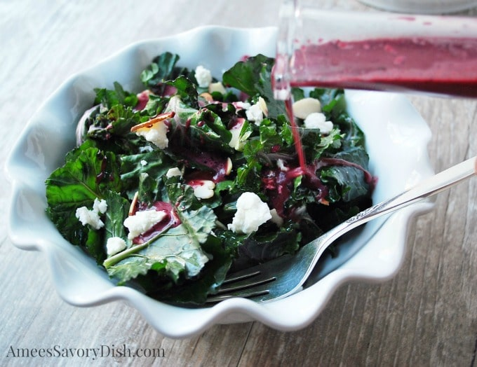 Kalette Salad with Blueberry Vinaigrette