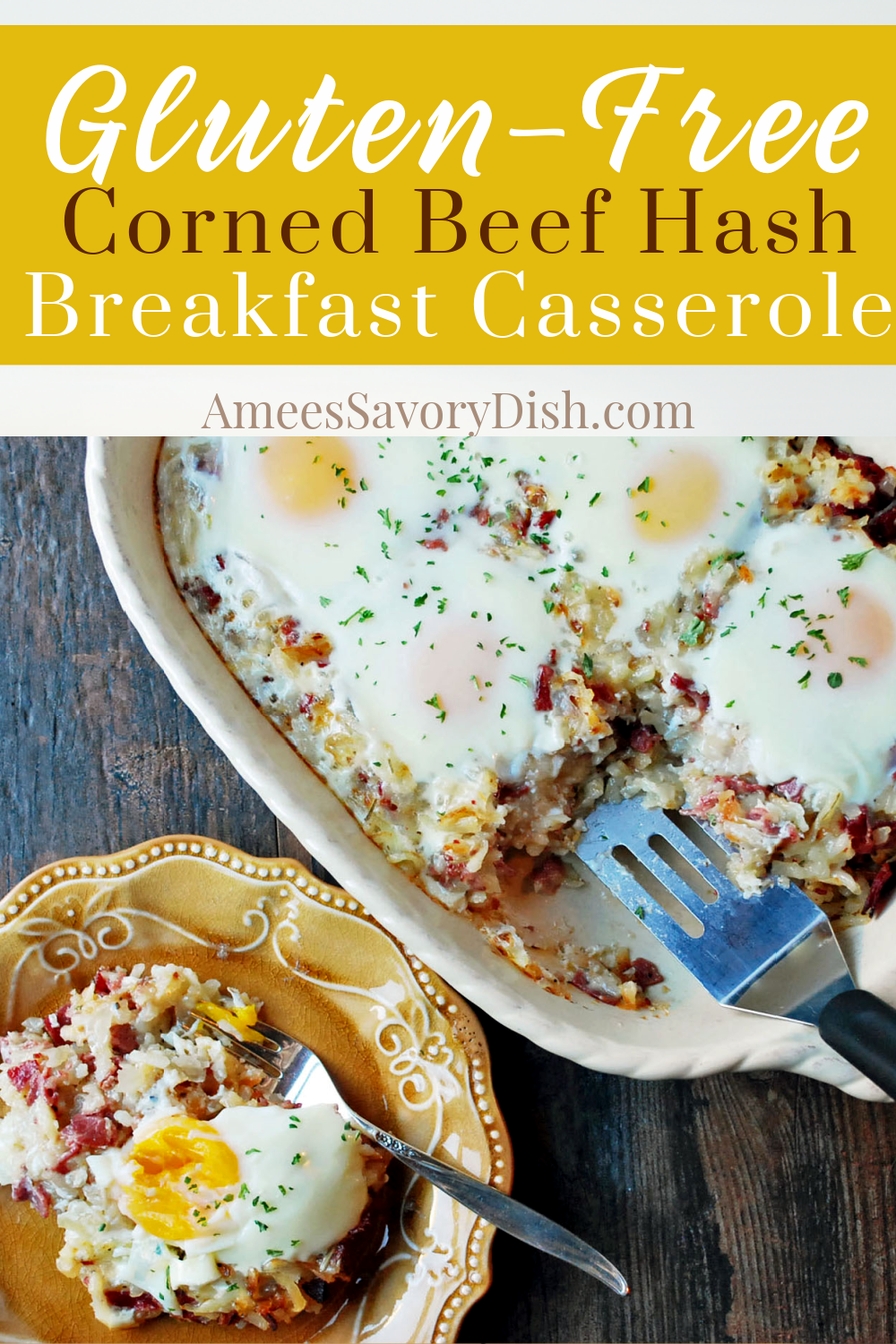 This lightened-up and delicious Corned Beef Hash Breakfast Casserole is a combination of cheese, hashbrown potatoes, corned beef, fresh herbs, and eggs. #breakfastcasserole #cornedbeefrecipe #cornedbeefhash #eggcasserole via @Ameessavorydish