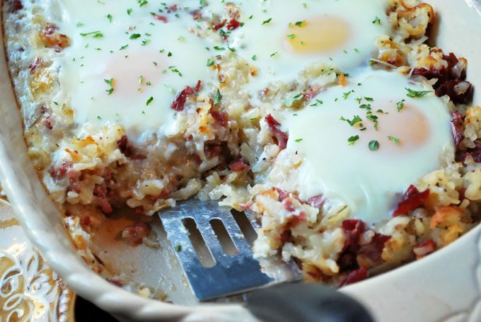 Corned Beef Hash Breakfast Casserole serving