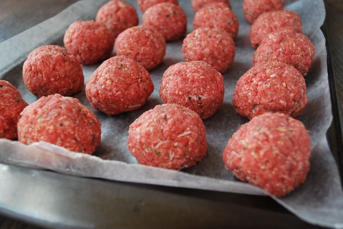 Lean meatballs for spaghetti squash meatball casserole