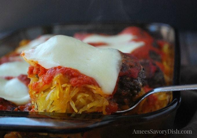 Baked spaghetti squash meatball casserole
