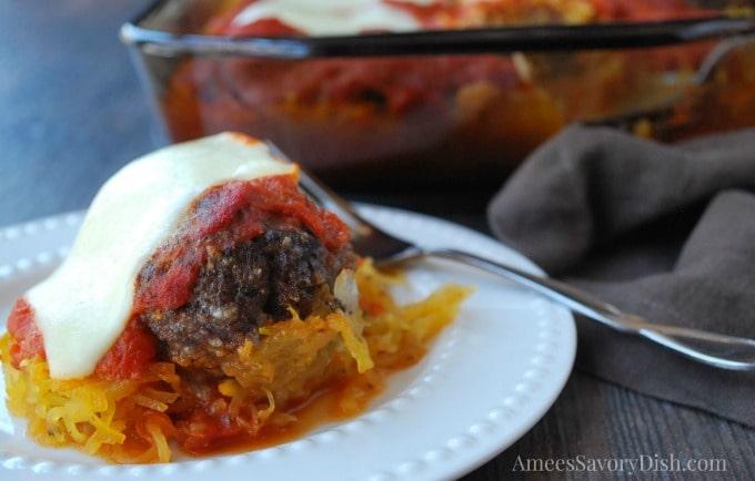 Spaghetti Squash Meatball casserole plate
