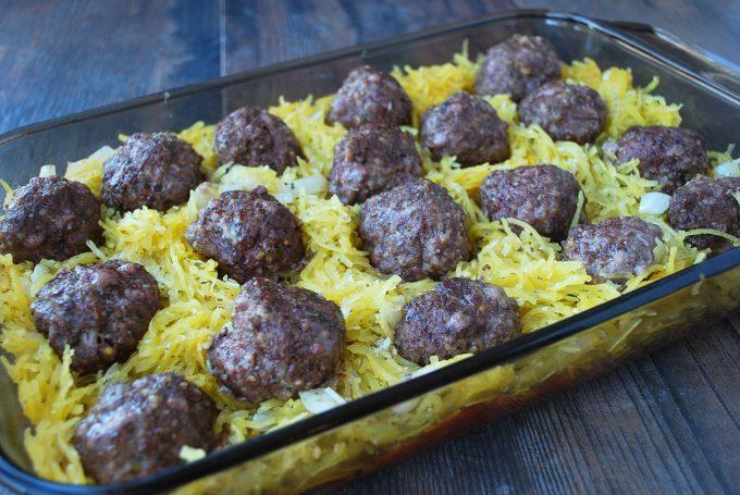 Meatball layer in spaghetti squash meatball casserole