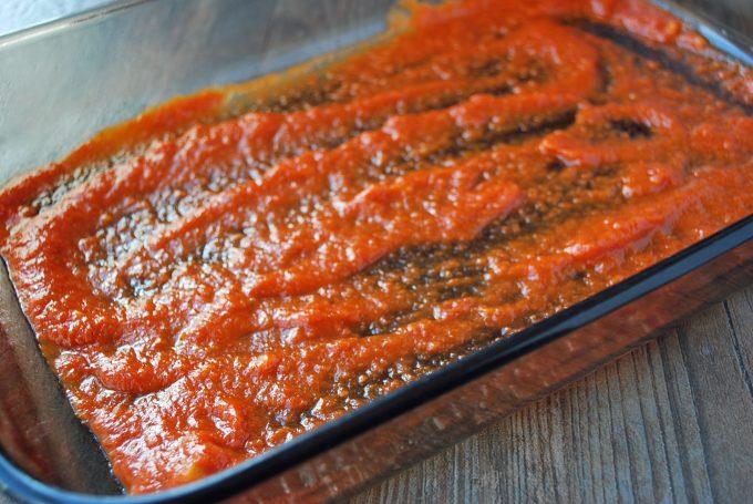 sauce layer in spaghetti squash meatball casserole