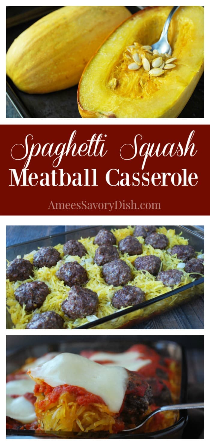 This Spaghetti Squash Meatball Casserole is a wonderful smart carb alternative to heavy, calorie-laden, pasta dishes and a great source of muscle-building lean protein.  It's full of incredible flavor and loaded with good nutrients to keep your body properly fueled. via @Ameessavorydish