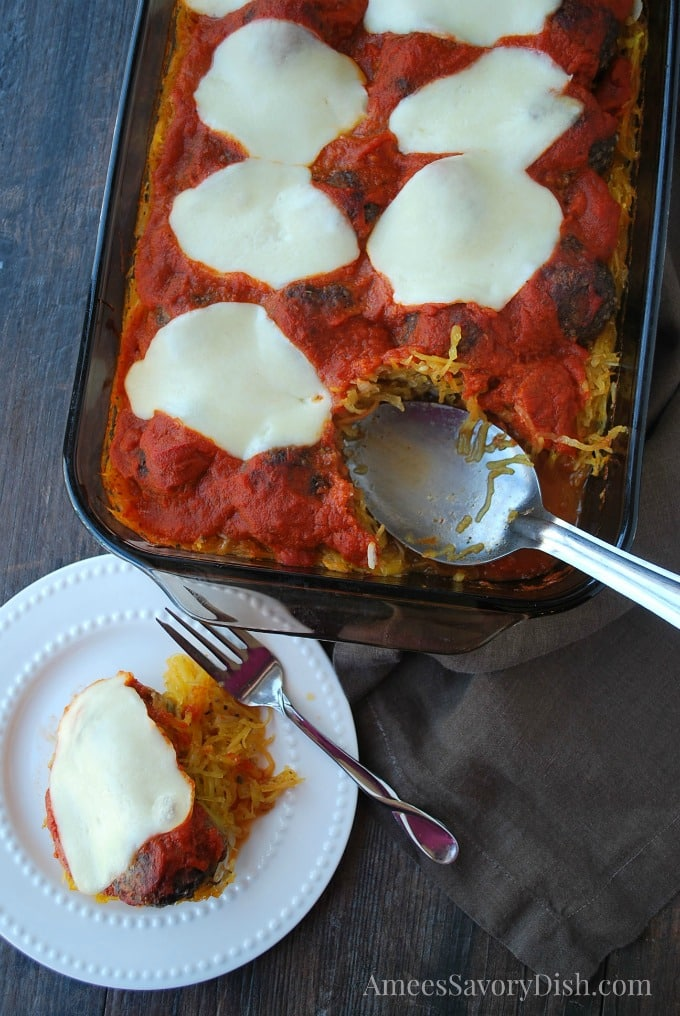 Delicious and Lean Spaghetti Squash Meatball Casserole