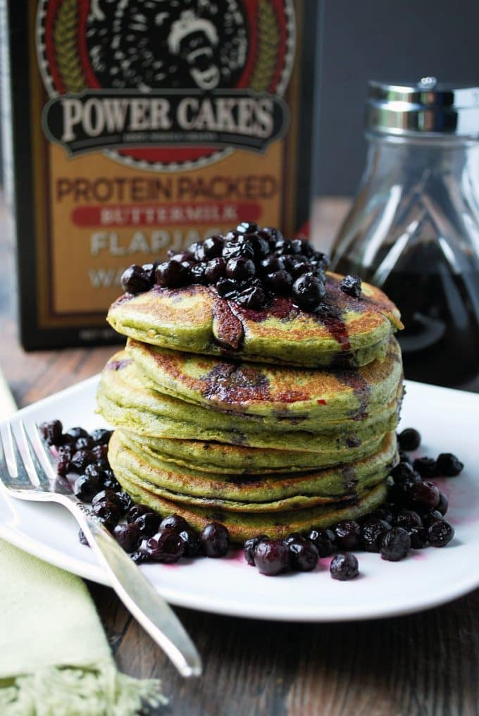 Wild Blueberry Matcha Protein Pancakes for breakfast
