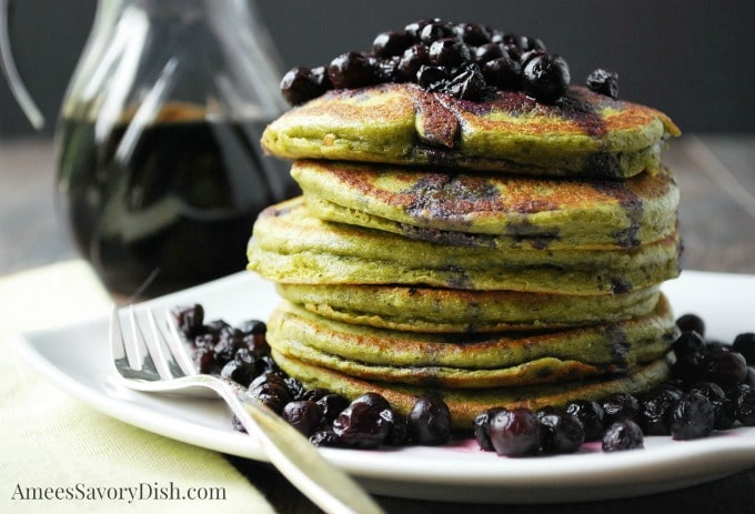 The Best Wild Blueberry Matcha Protein Pancakes