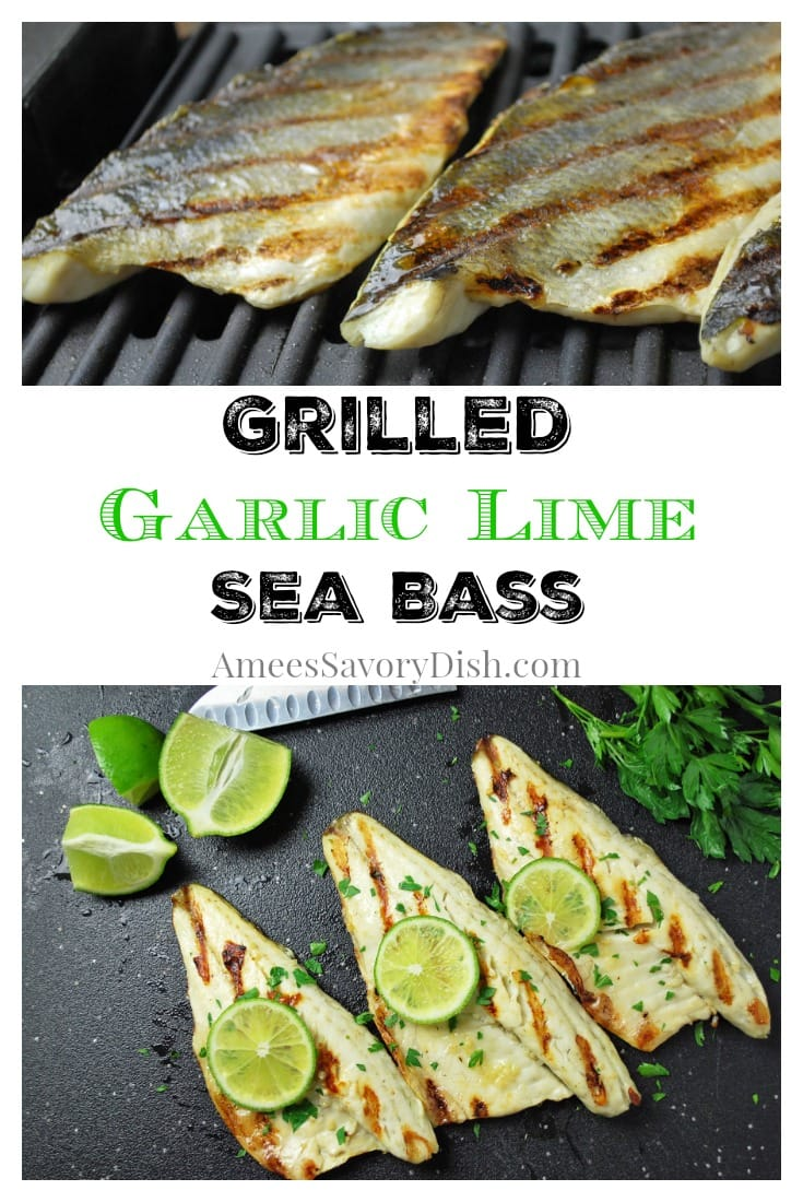 collage photo of grilled sea bass on a cutting board with herbs and lime with fish on the grill in the second photo