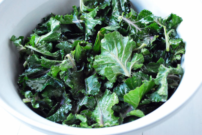 massaged kale with coarse salt
