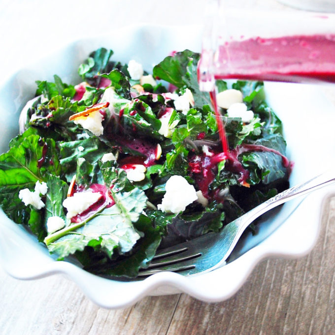 Kale Superfood salad recipe with a homemade blueberry vinaigrette
