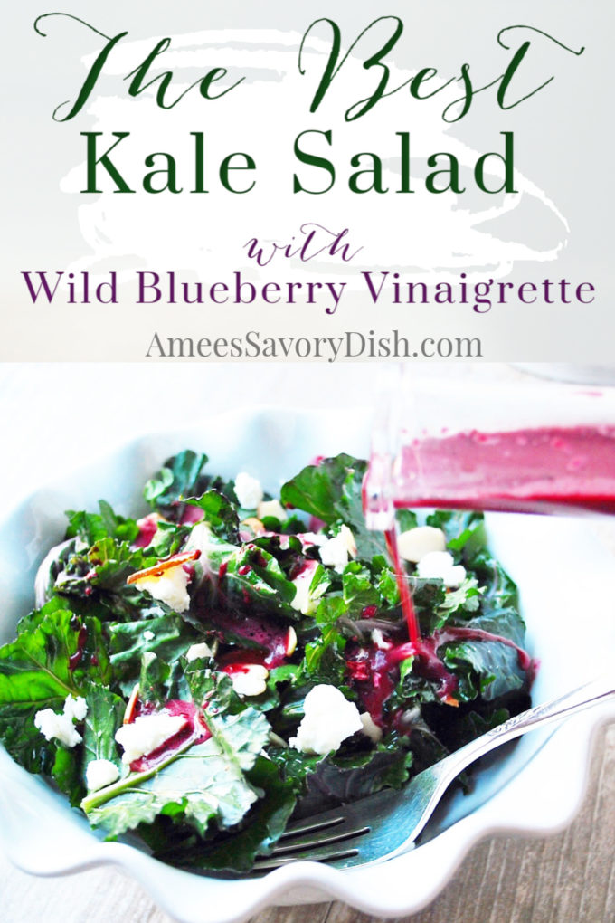 A deliciously easy kale superfood salad recipe made with Kalettes, a new hybrid power green, crumbled goat cheese, slivered almonds with a homemade wild blueberry vinaigrette dressing.