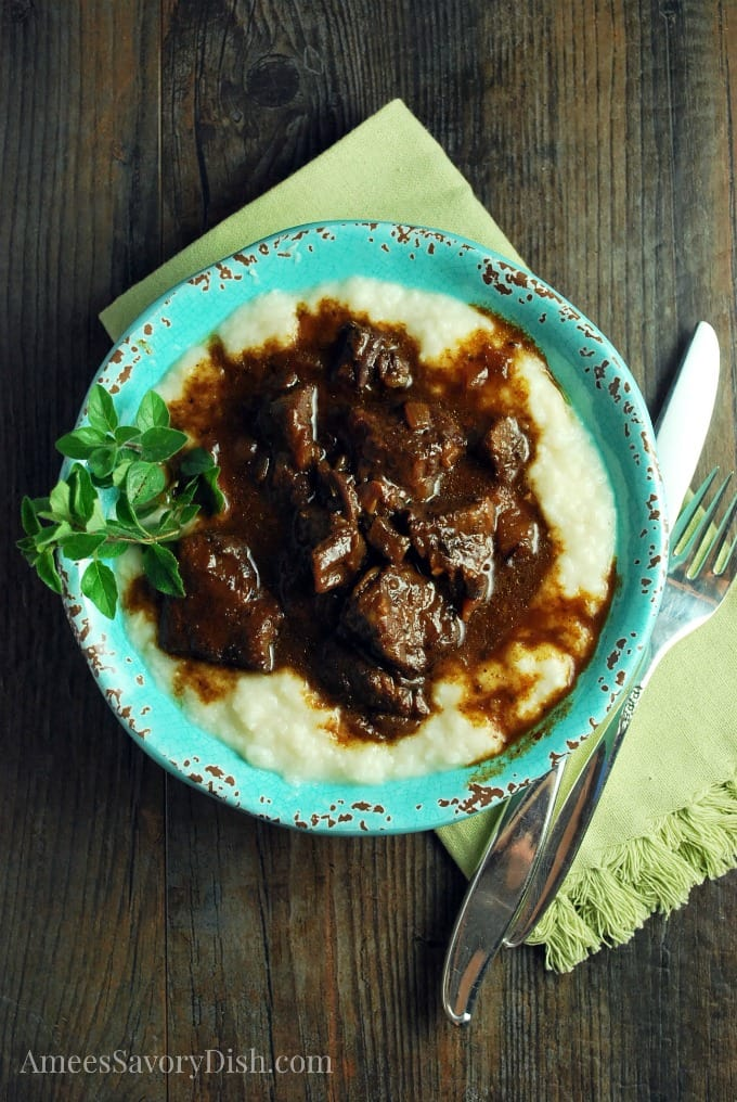 Instant Pot Mediterranean Beef is a tender and flavorful beef recipe made with chuck shoulder roast in a delicious balsamic red wine sauce. via @Ameessavorydish