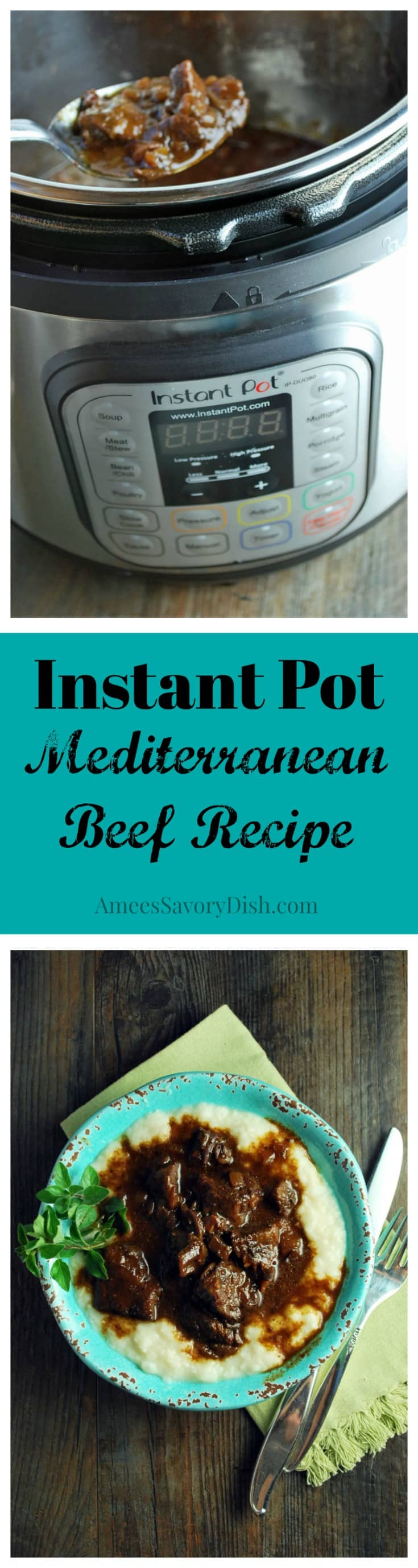 Healthy Instant Pot Mediterranean Beef over Cauliflower Rice
