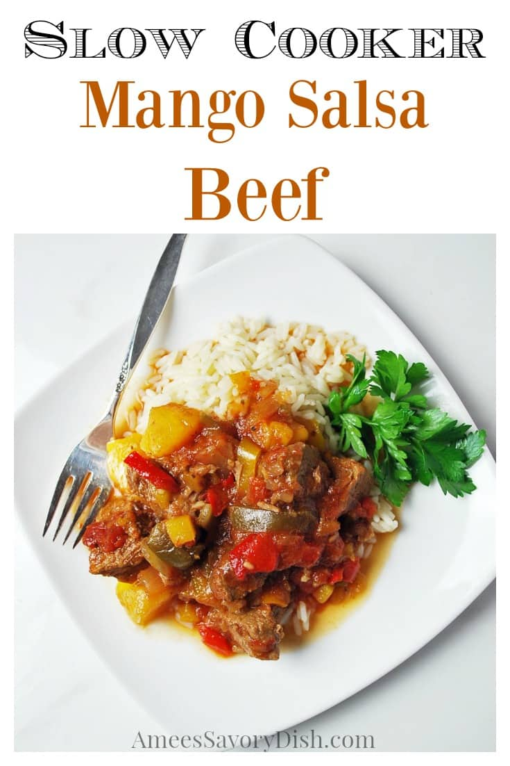 Easy and delicious slow cooker mango salsa beef. Takes less than 10 minutes to prepare! via @Ameessavorydish