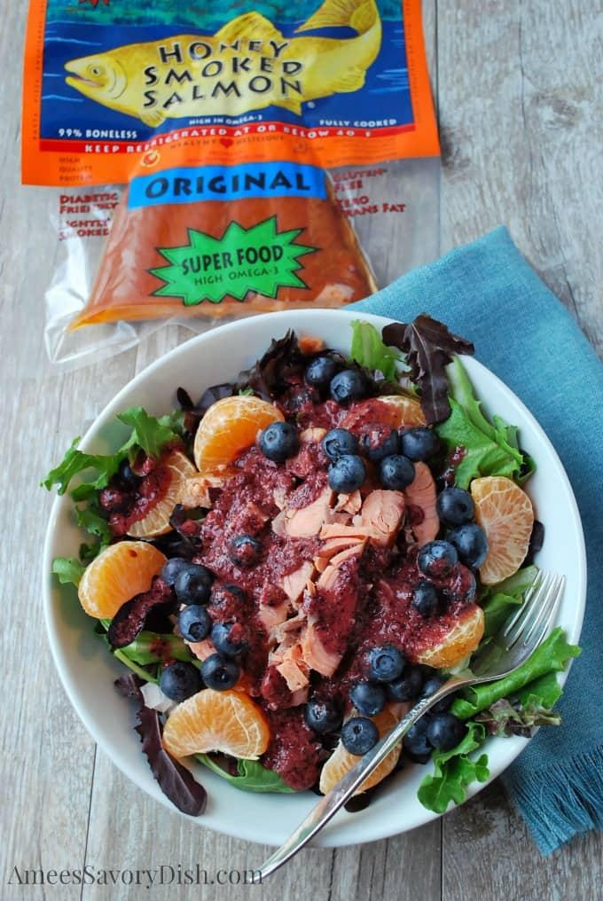 Salmon Salad with Fresh Blueberry Vinaigrette recipe