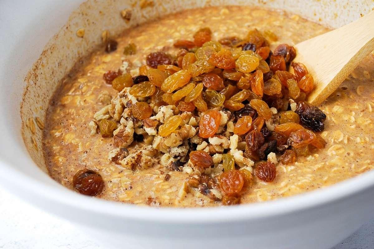 raisins and walnuts folded into pumpkin pie oatmeal batter