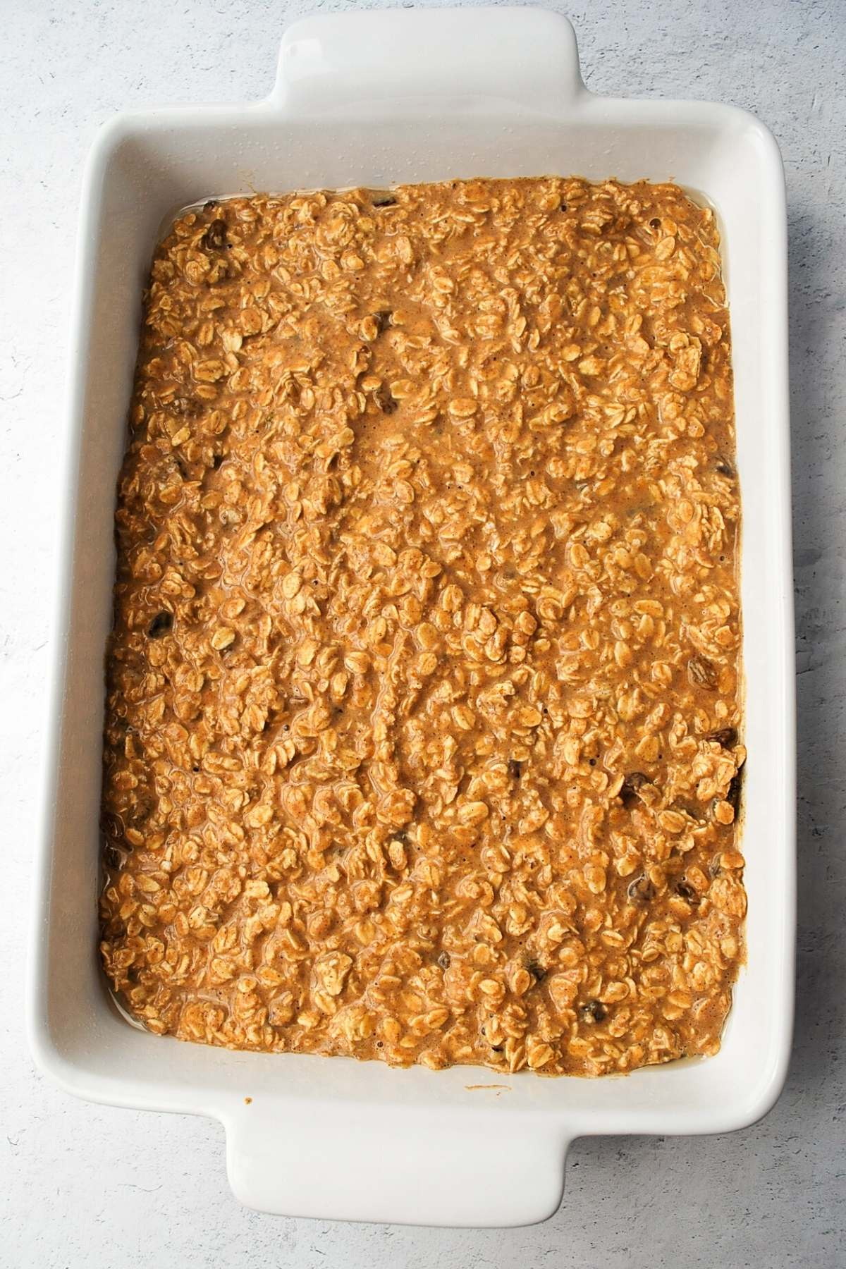 pumpkin pie baked oatmeal ready to cook in the oven