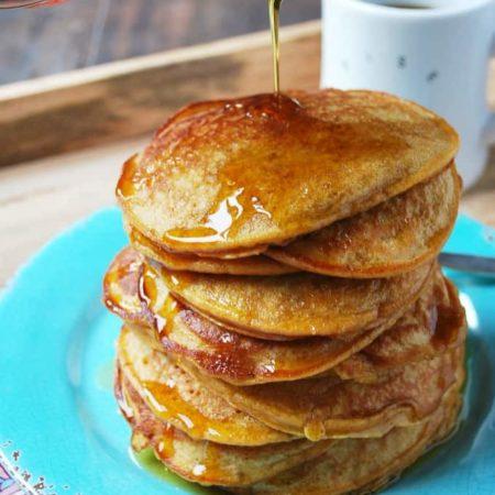 a stack of sweet potato pancakes