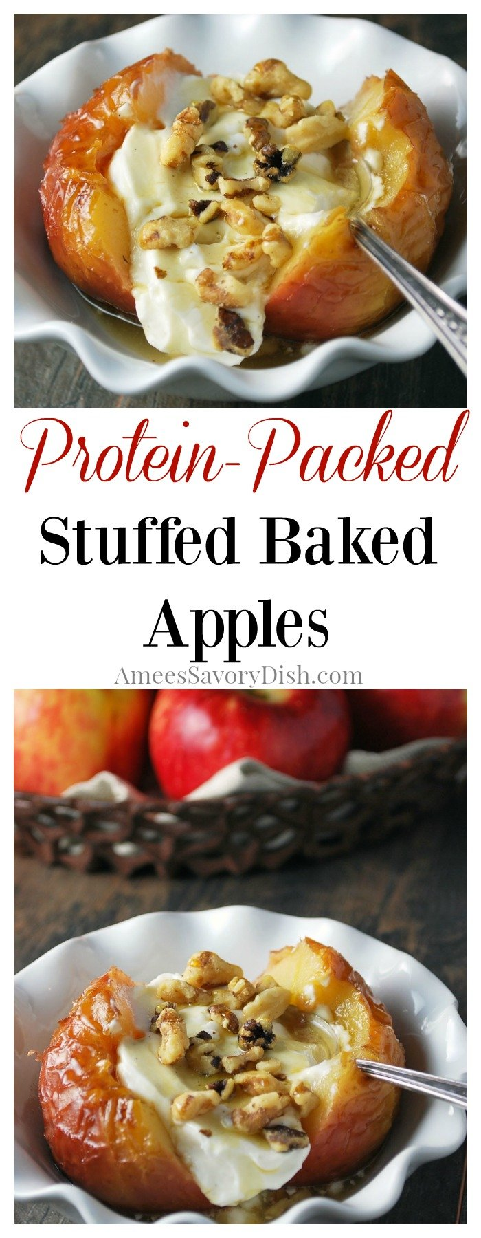 Protein-Packed Stuffed Baked Apples are a deliciously easy dessert made with apples, yogurt, nuts and maple syrup.