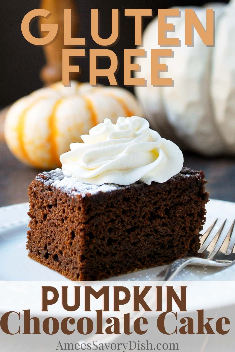 This Gluten-free Pumpkin Chocolate Cake has the perfect balance of cocoa and pumpkin spice -and is nothing short of amazing! via @Ameessavorydish
