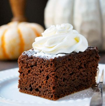 close up photo of slice of pumpkin chocolate cake with whipped cream on top