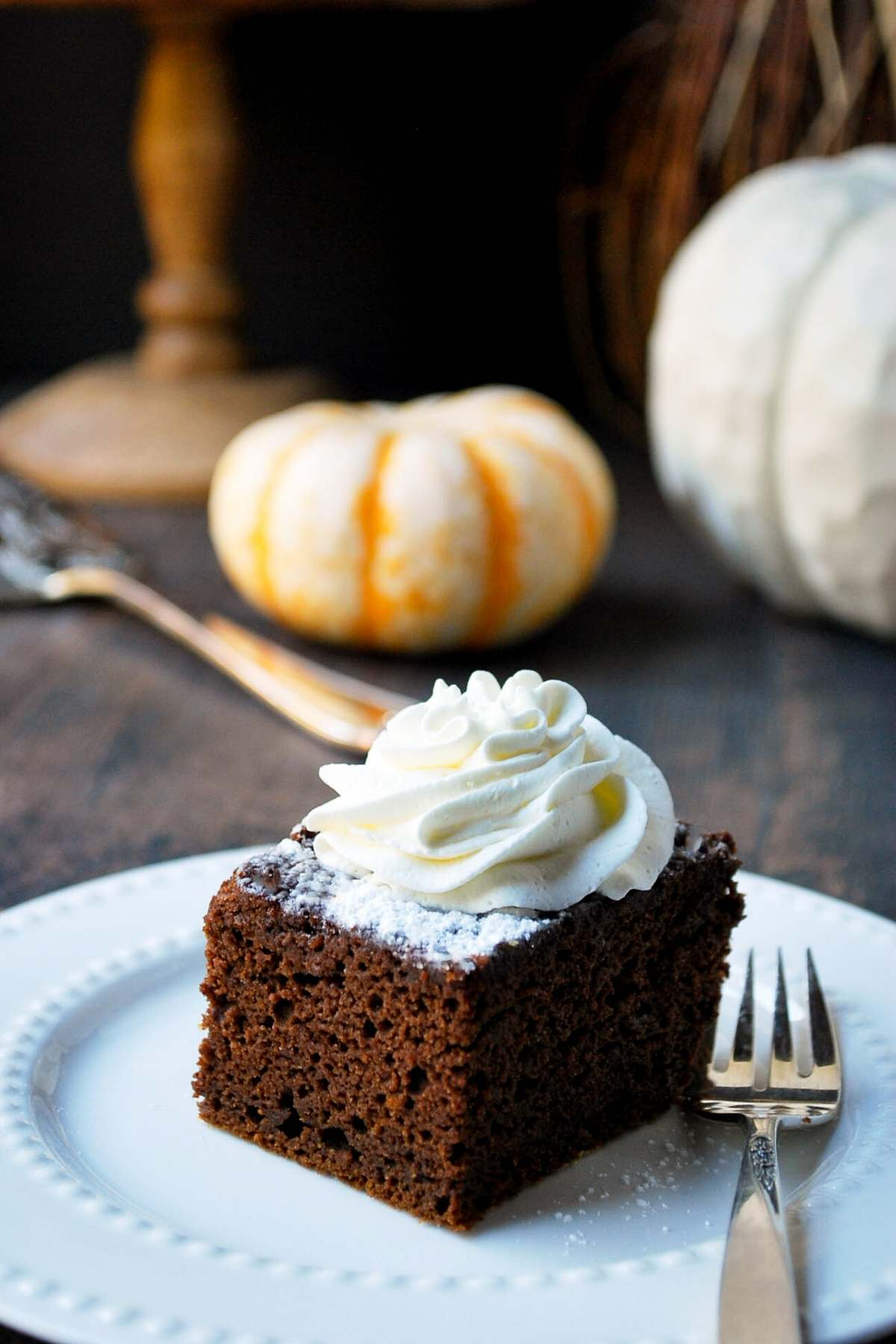 overhead photo of pumpkin chocolate cake with a fork