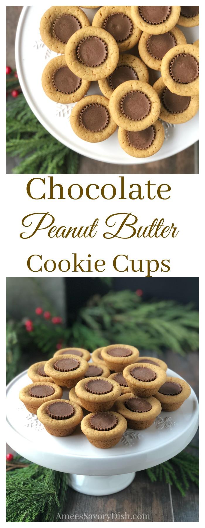 Chocolate Peanut Butter Cookie Cups recipe #chocolate #peanutbutter #peanutbuttercookie #holidaybaking #holidaycookierecipe #cookies #cookierecipe via @Ameessavorydish