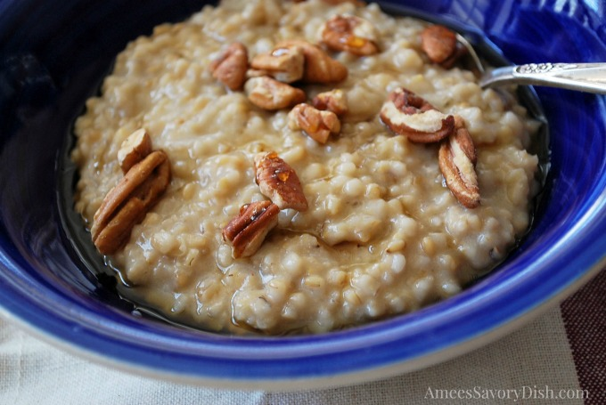 Maple Pecan Instant Pot Steel Cut Oatmeal served