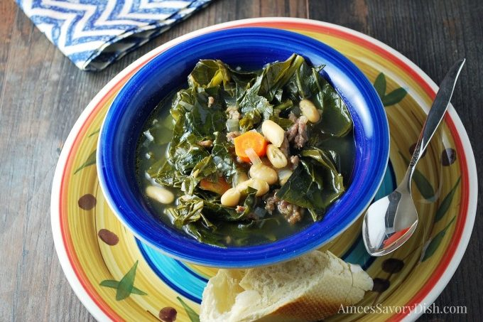 Italian Sausage White Bean and Collard Green Soup