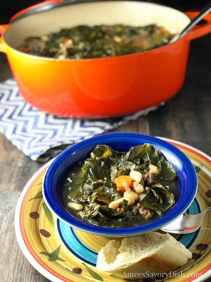 Italian Sausage White Bean & Collard Green Soup