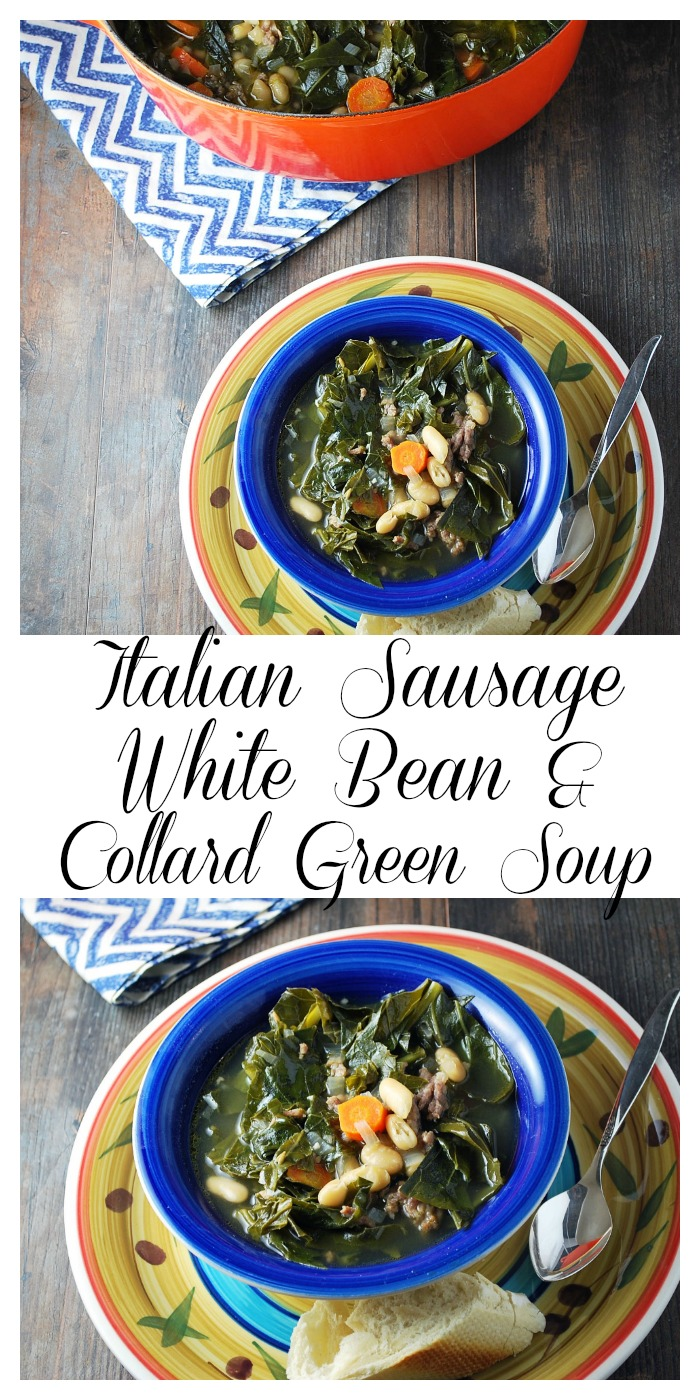 This delicious and easy soup white bean soup recipe is made with chopped collard greens, carrots, onions, Italian sausage, olive oil, and white cannellini beans via @Ameecooks
