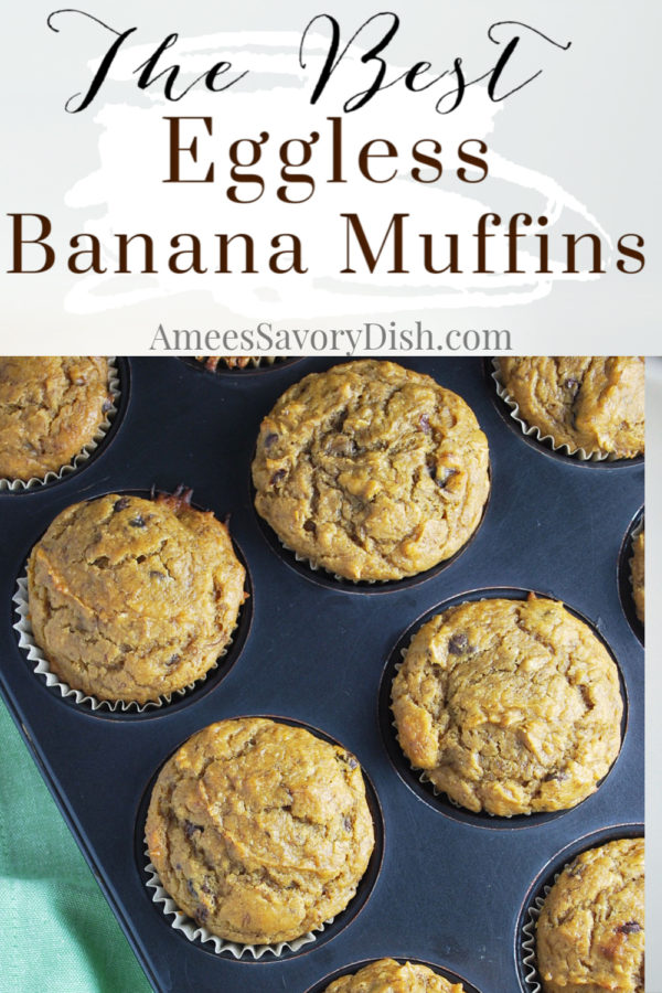 This DELICIOUS recipe for eggless banana muffins is super moist made with whole-grain flour, canned pumpkin, coconut oil, and Greek yogurt. via @Ameecooks