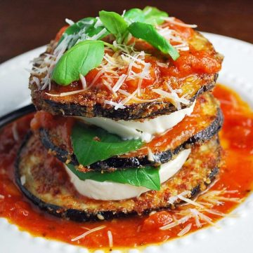 fried eggplant stacked with buffalo mozzarella, fresh basil, and covered with marinara sauce and grated Parmesan cheese