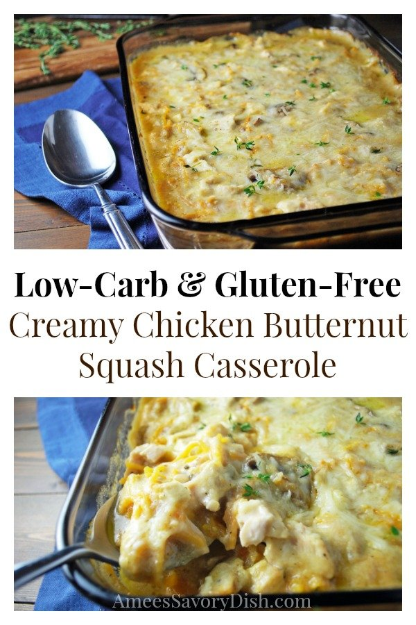 This easy Creamy Gluten-Free Chicken Butternut Squash Casserole is low-carb comfort food at it's finest.  Made with boneless chicken breasts, spiralized butternut squash and a creamy garlic mushroom sauce, you'll be coming back for seconds.