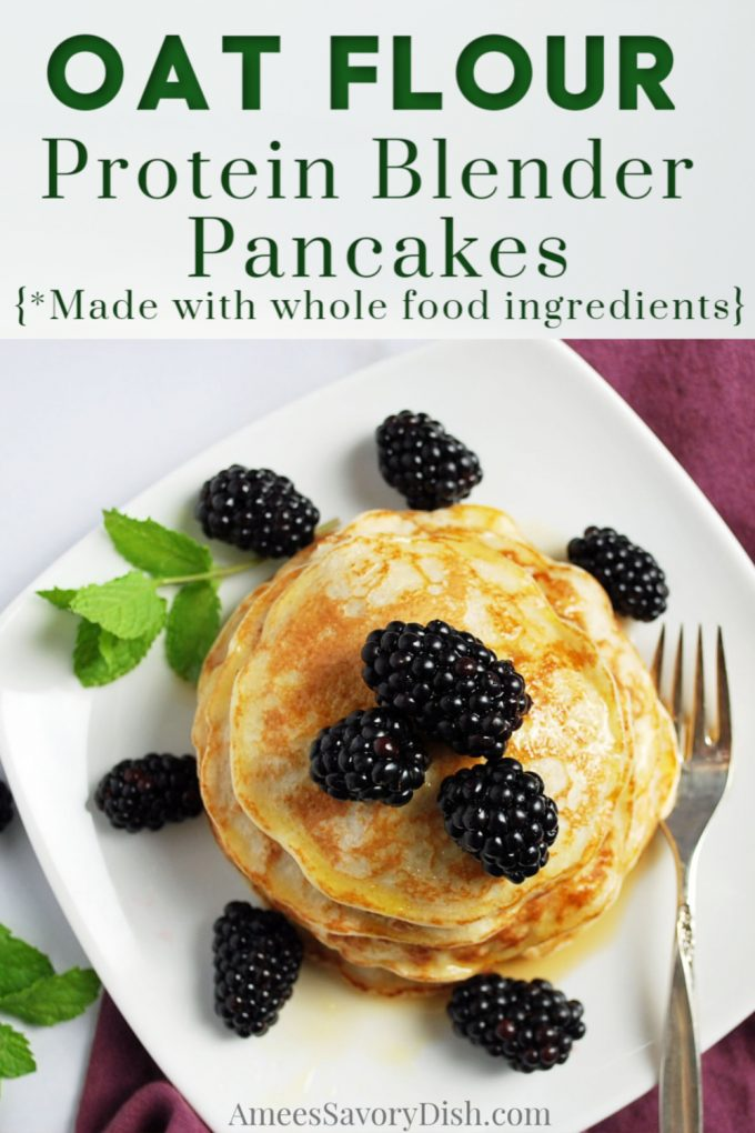 Plate of oat flour pancakes topped with fresh blackberries and a fork
