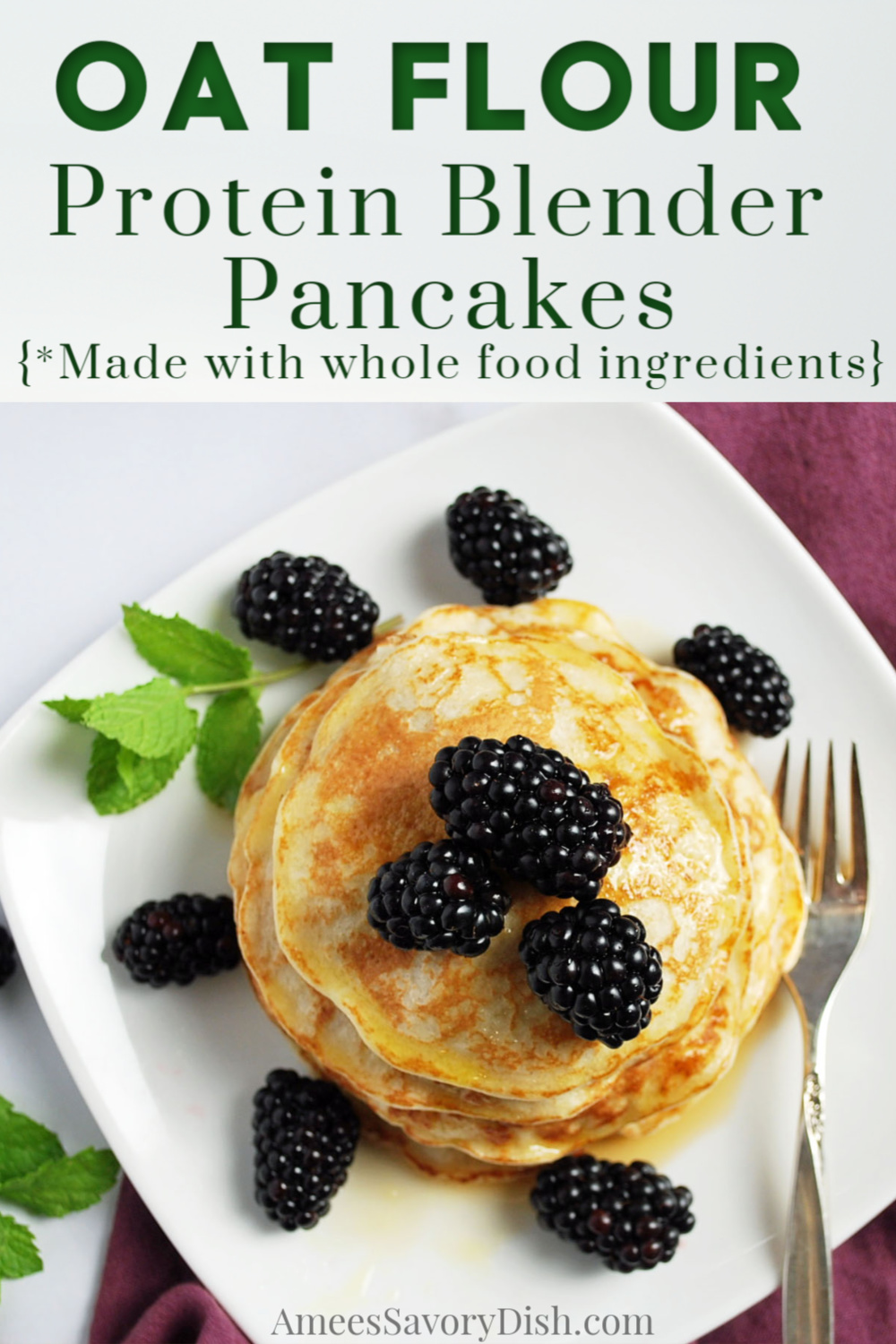 Easy gluten-free whole food Protein Blender Pancakes are made with only five ingredients and perfect for your weekly meal prep! #mealpreppancakes #blenderpancakes #oatflourpancakes #glutenfreepancakes via @Ameessavorydish